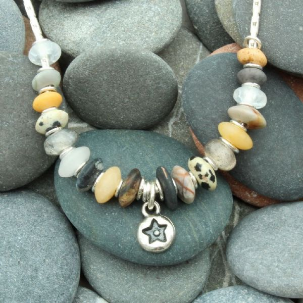 Seaside necklace, earthy natural colours, natural stone necklace,  star, pebble, no.9